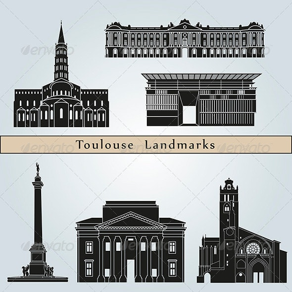 Toulouse Landmarks and Monuments - Buildings Objects