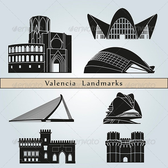 Valencia Landmarks and Monuments - Buildings Objects