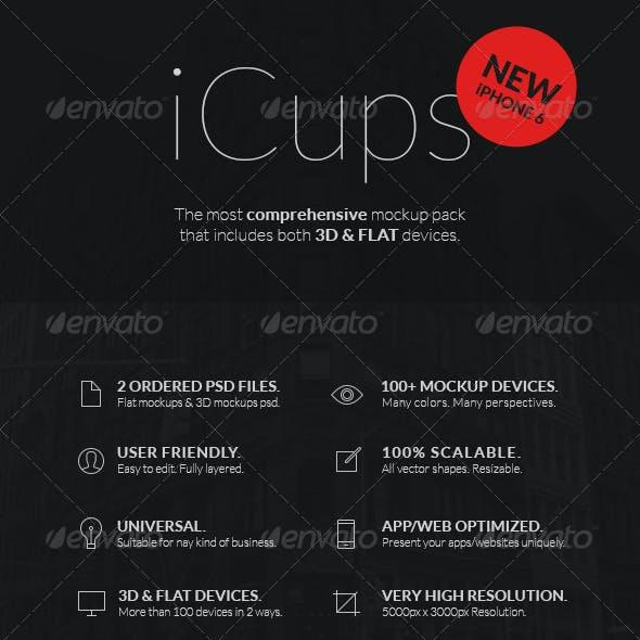 iCups - 100 3D & Flat Responsive Screen Mockups