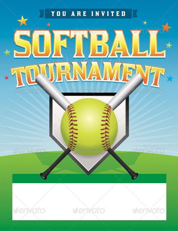 Vector Softball Tournament Illustration - Sports/Activity Conceptual