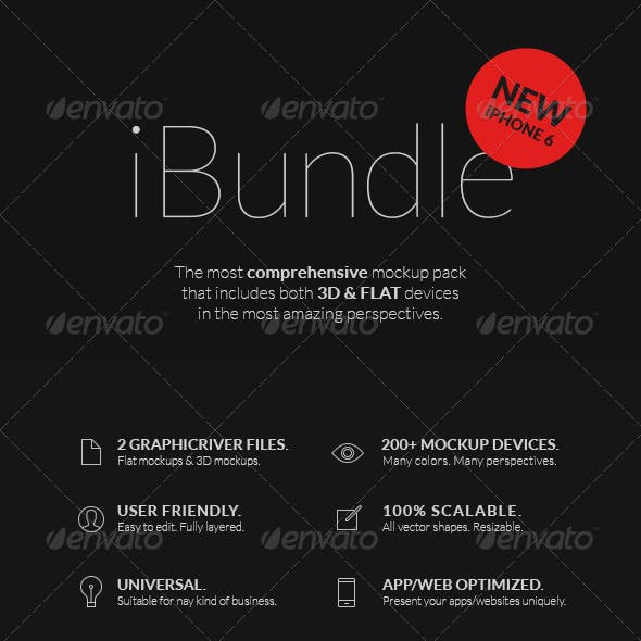 iBundle - 200 Responsive Screen Mockups