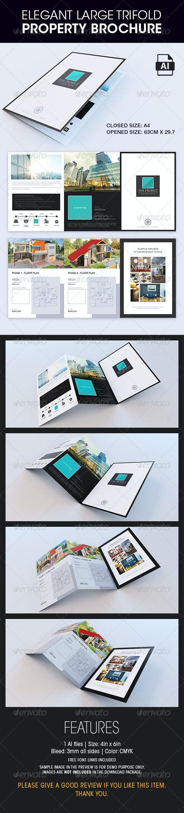 Elegant Large Trifold Property Brochure - Corporate Brochures