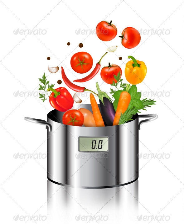 Vegetables Falling into a Pot  - Food Objects