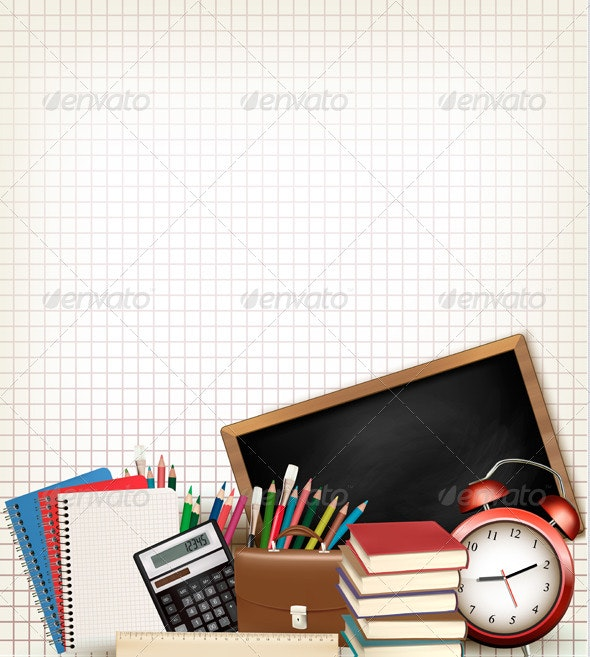 Education Background with School Supplies - Backgrounds Decorative