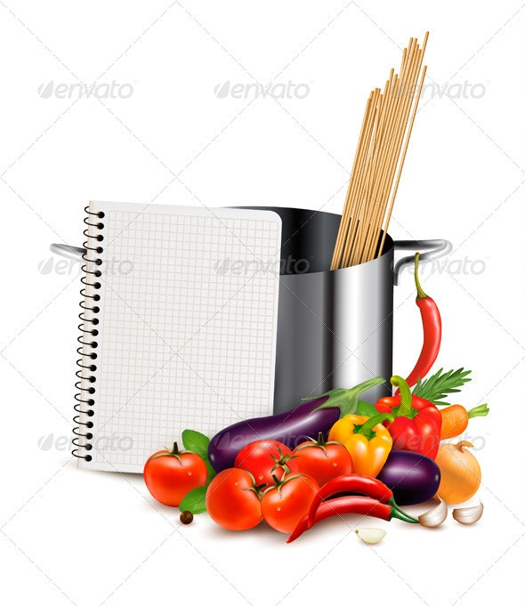 Recipe Template Cookbook with Vegetables - Food Objects