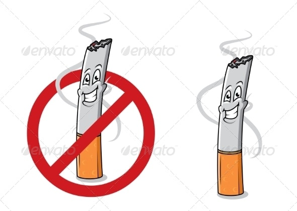 Cartoon Happy Cigarette Butt - Miscellaneous Characters