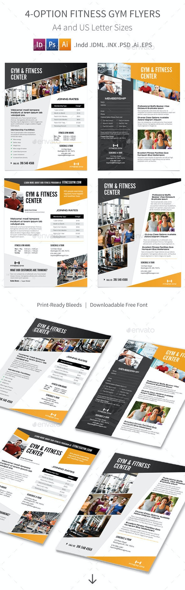 Fitness Gym Flyers – 4 Options - Corporate Flyers