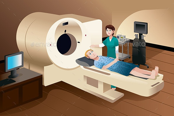 Patient Lying Down on a Scan Machine - Health/Medicine Conceptual