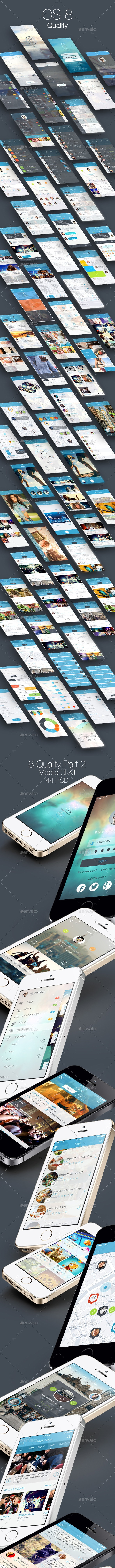 8 Quality Bundle - Mobile and Tablet UI Kit - User Interfaces Web Elements