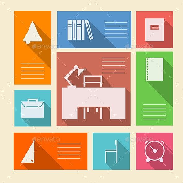 Colored Vector Icons for School Supplies - Conceptual Vectors