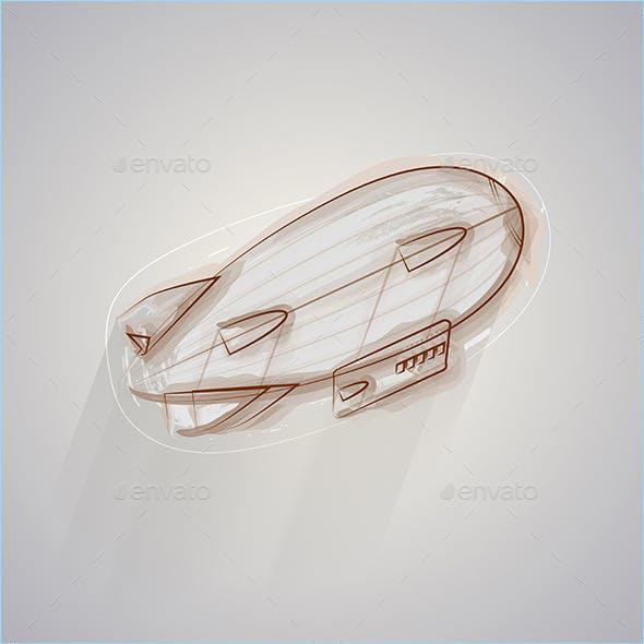 Sketch Vector Illustration of Zeppelin