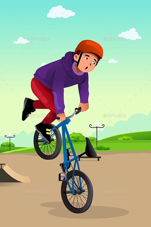 Boy Doing a Bike Stunt - Sports/Activity Conceptual