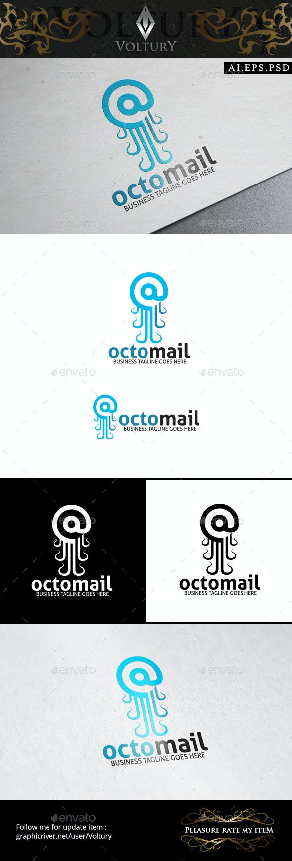 Octo Mail Logo - Animals Logo Templates