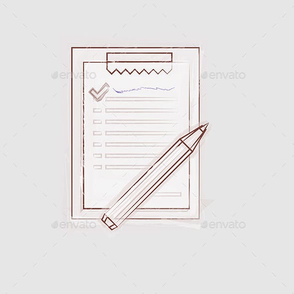 Sketch Illustration of Clipboard for Outsource
