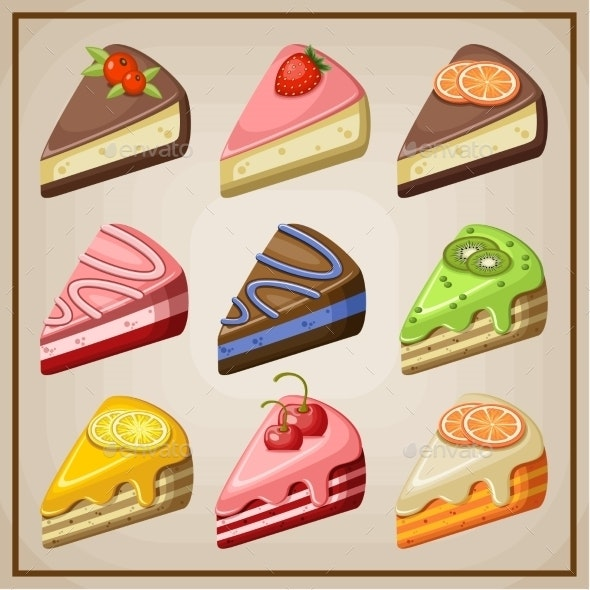 Set of Cakes and Cheesecakes.  - Food Objects