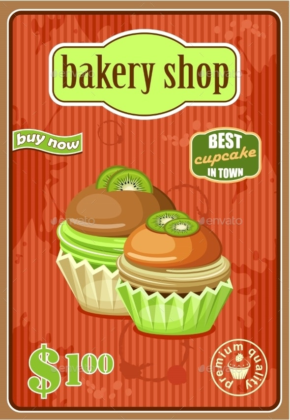 Vintage Cupcake Poster. - Food Objects