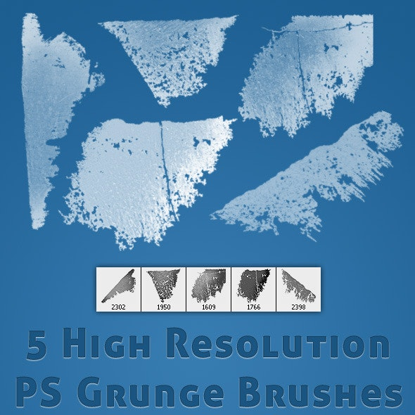 5 High Res Grunge Brushes - Grunge Brushes