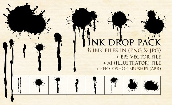 Ink Drop Pack - Grunge Brushes