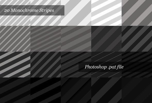 Monochrome Striped Backgrounds (20 Patterns) - Textures / Fills / Patterns Photoshop