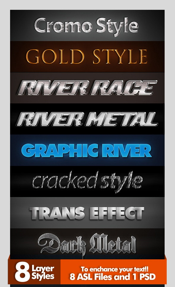 8 Layer Styles - Text Effects Styles