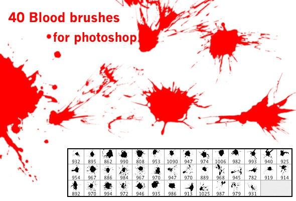 40 blood brushes - Brushes Photoshop