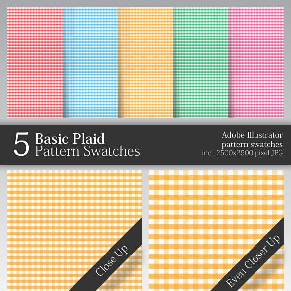 5 Basic Plaid Pattern Swatches