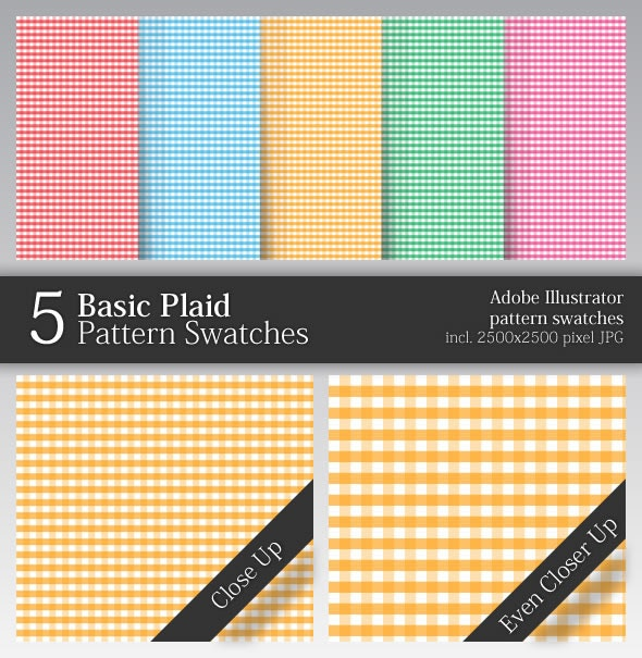 5 Basic Plaid Pattern Swatches - Miscellaneous Textures / Fills / Patterns