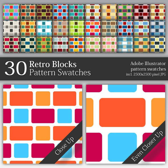 30 Retro Blocks Pattern Swatches