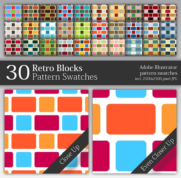 30 Retro Blocks Pattern Swatches - Abstract Textures / Fills / Patterns