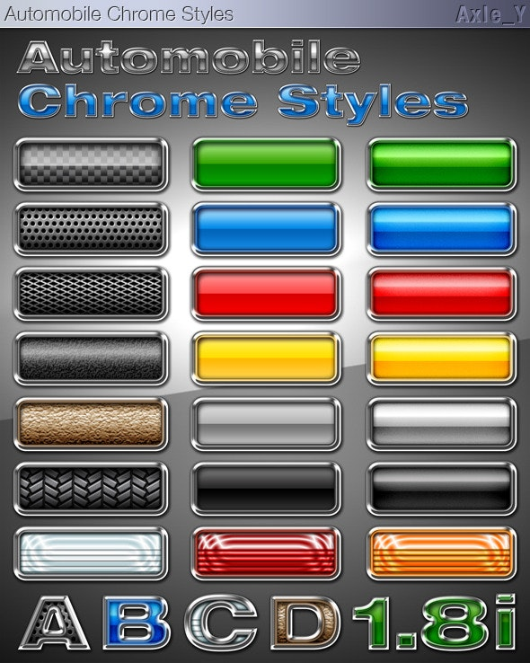 Automobile Chrome Layer Styles - Text Effects Styles