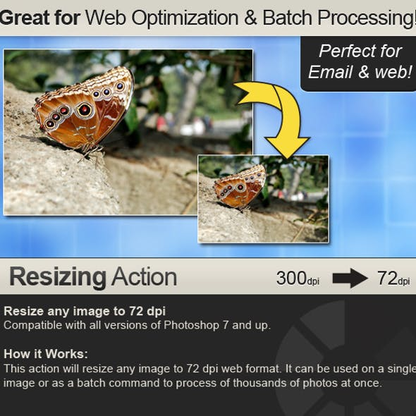 Resizing Action - Resizes from any dpi to 72 dpi