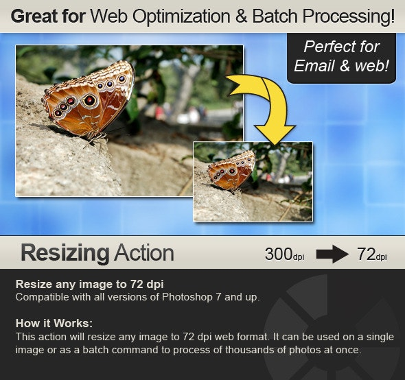 Resizing Action - Resizes from any dpi to 72 dpi - Utilities Actions
