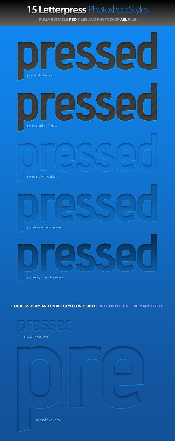 Pressed - Letterpress Photoshop Styles - Text Effects Styles