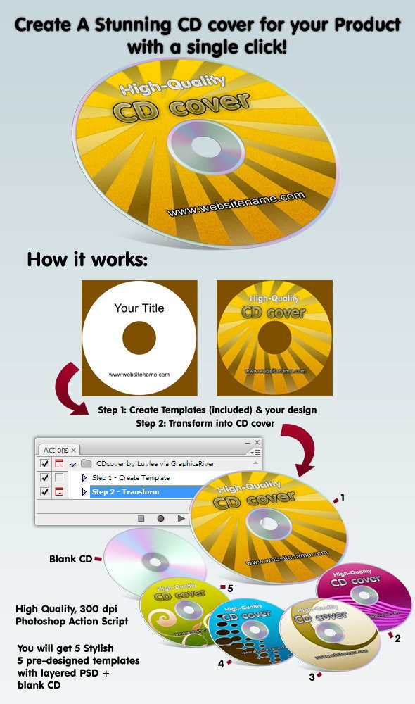 Amazing Compact Disk eCover Action & Templates - Utilities Actions