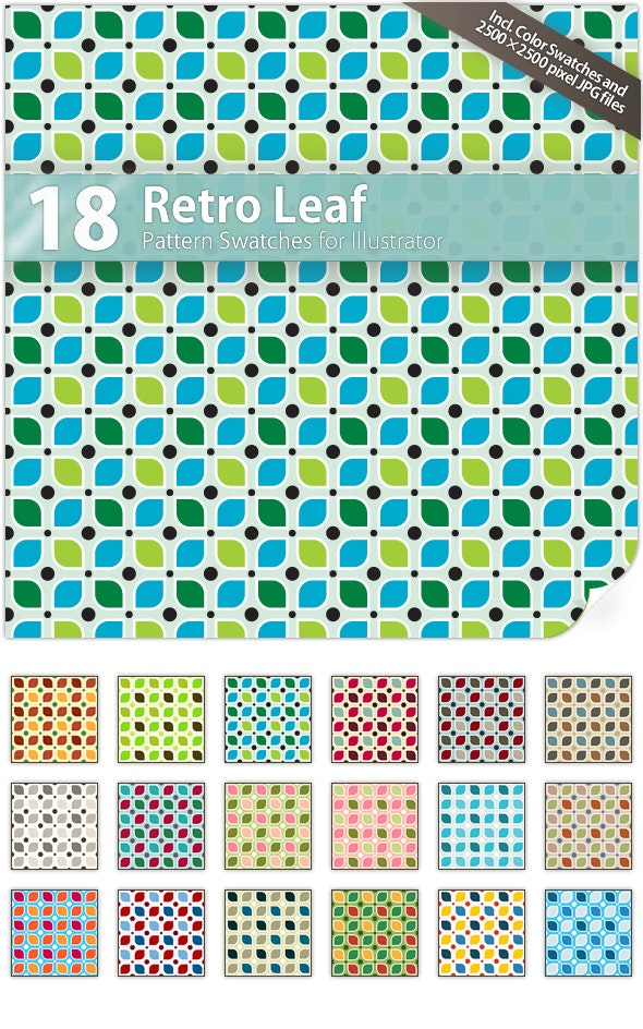 18 Retro Leaf Pattern Swatches - Abstract Textures / Fills / Patterns
