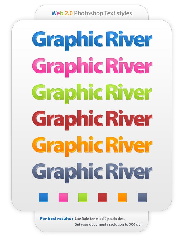 6 colors web 2.0 photoshop text styles - Text Effects Styles