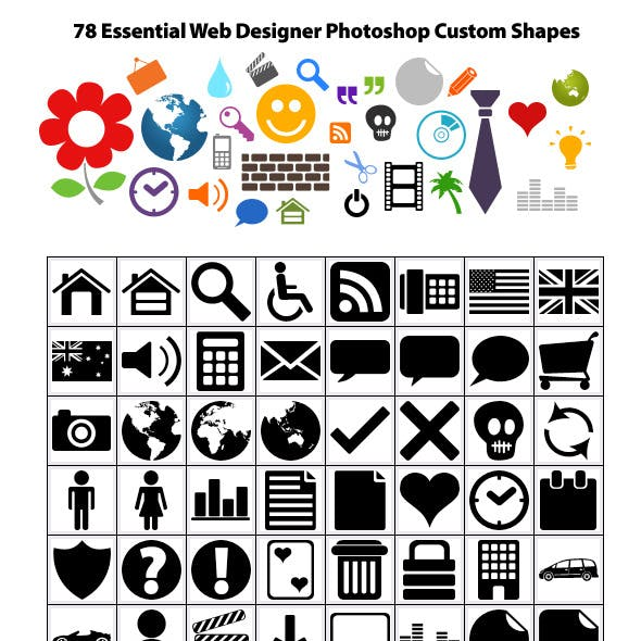 78 Essential Web Designer Photoshop Custom Shapes