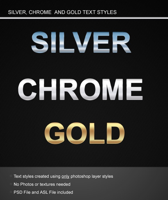 Silver Chrome and Gold Text styles - Text Effects Styles