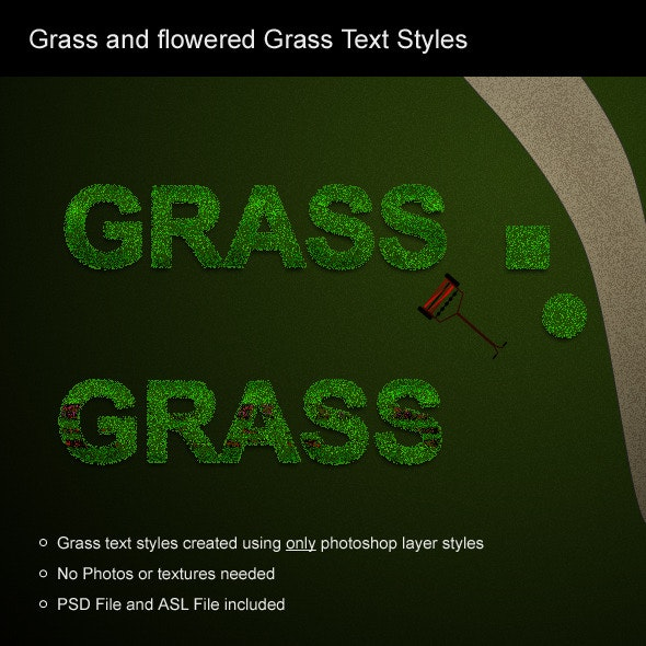 Grass and flowered grass text styles - Text Effects Styles