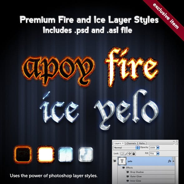 Premium Fire and Ice Layer Styles