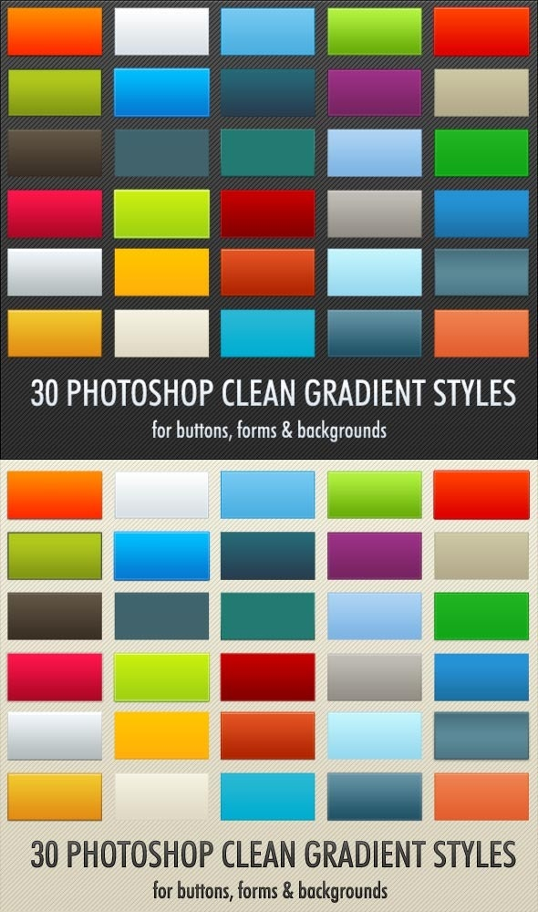 30 Clean Gradient Photoshop Styles - Text Effects Styles