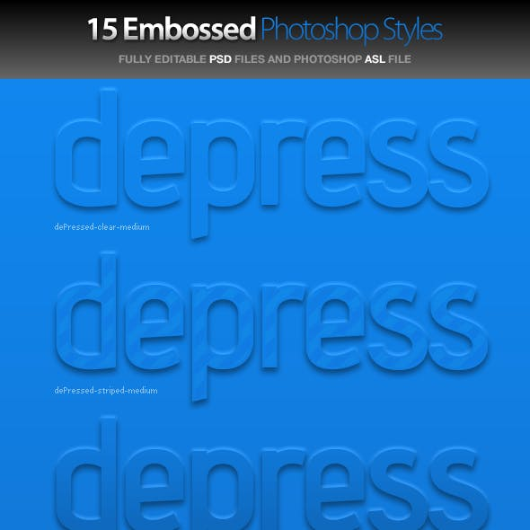 dePressed - Embossed Photoshop Styles