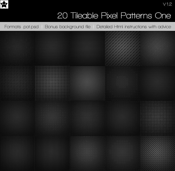 20 Tileable Pixel Patterns 1 - Photoshop Add-ons