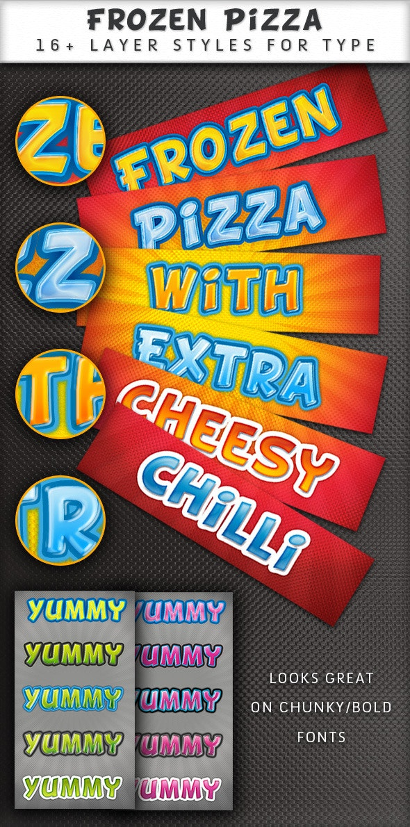 Frozen Pizza layer styles - Photoshop Add-ons