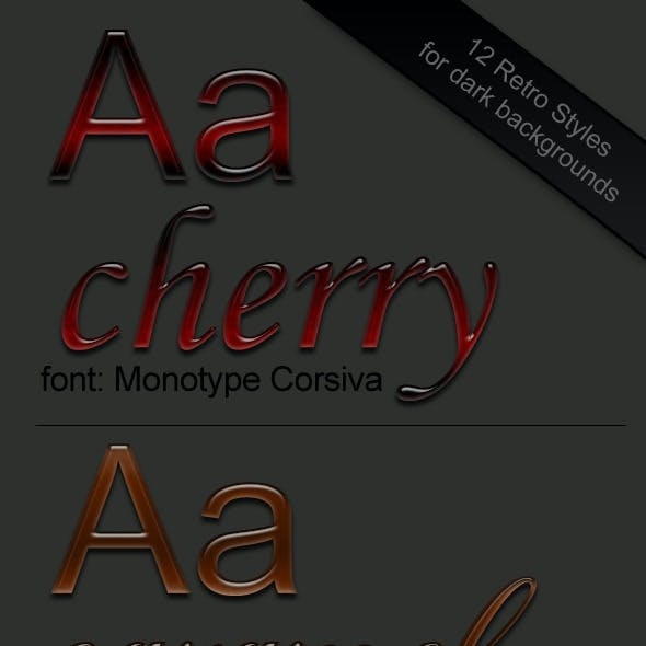 12 Retro Text Styles for dark backgrounds