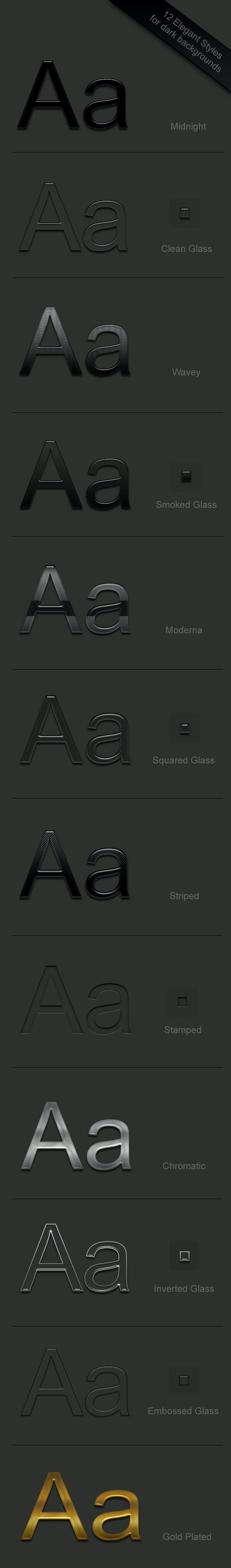 12 Elegant Text Styles for drak backgrounds - Photoshop Add-ons