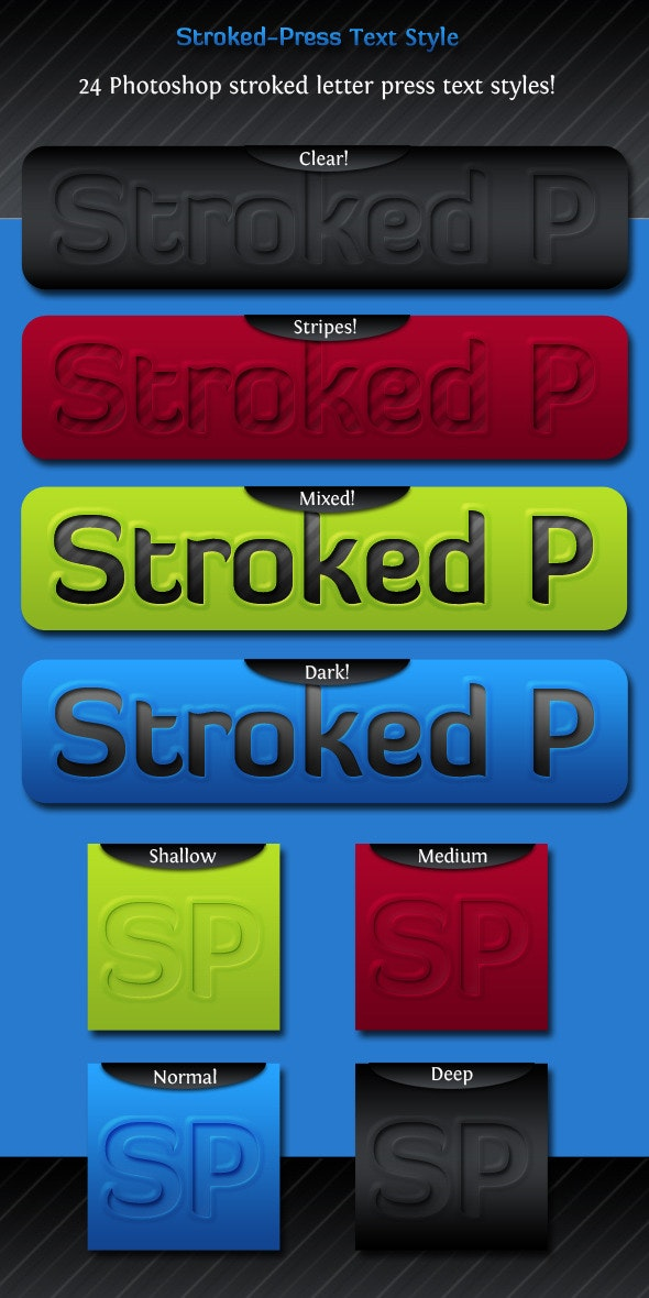Stroked Press Text Style - Photoshop Add-ons