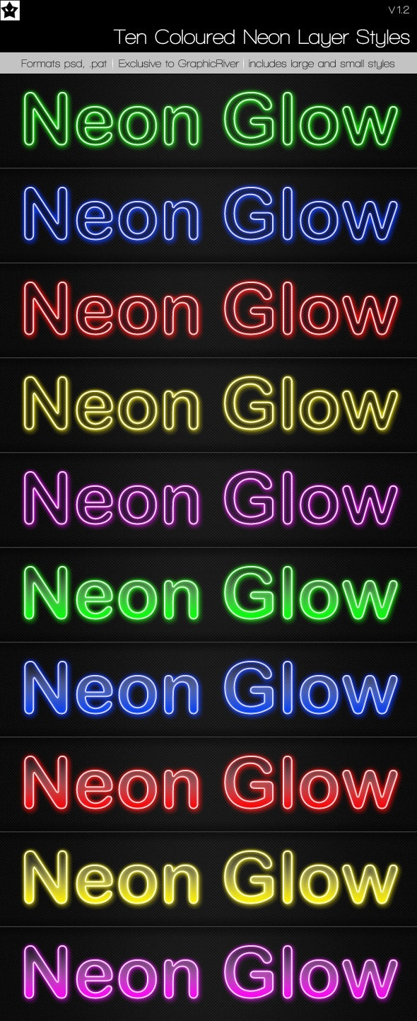10 Neon Layer Styles - Photoshop Add-ons