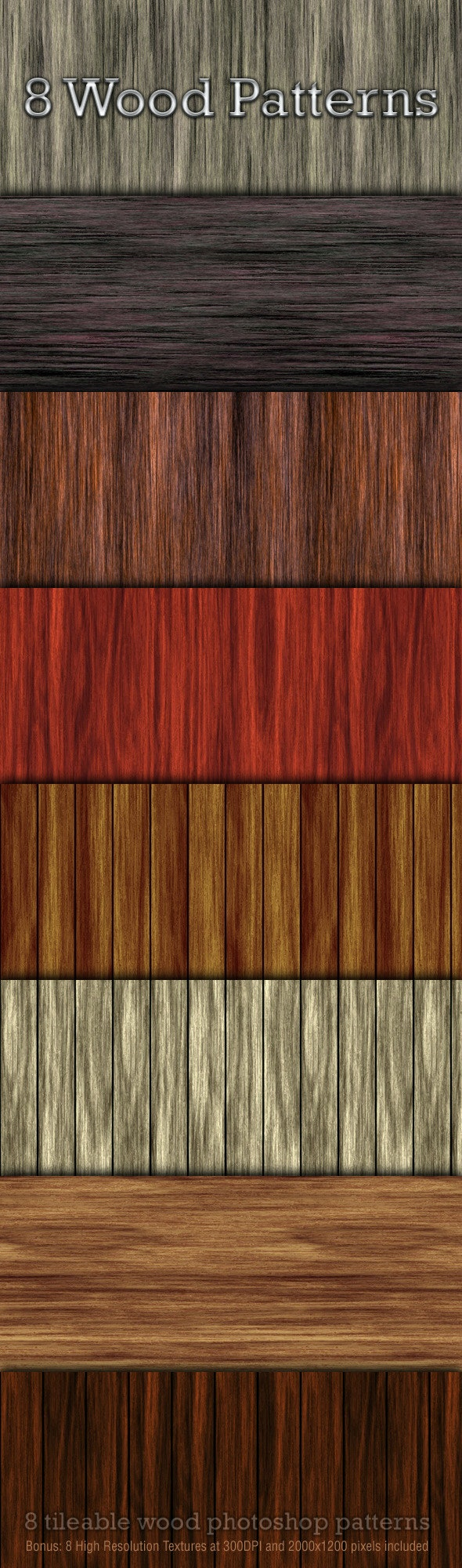 8 Seamless Wood Patterns - Textures / Fills / Patterns Photoshop