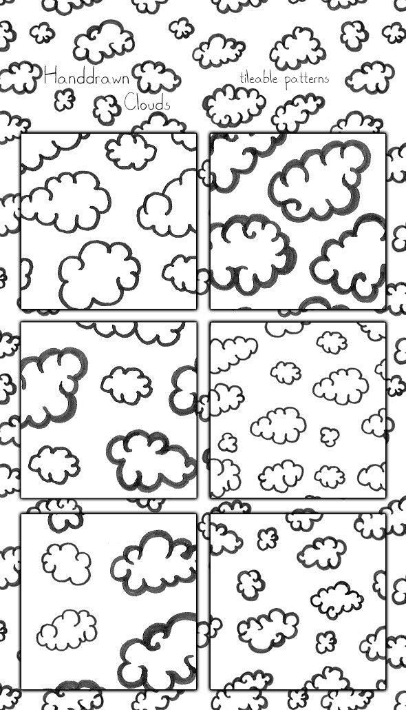 Clouds Handdrawn Patterns, tileable - Photoshop Add-ons